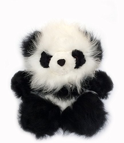(Inca Fashions Baby Alpaca Fur Sitting Panda Bear - 6 inches Tall - Hand Made Black & White - Each Panda is Unique)