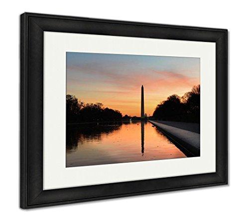 Ashley Framed Prints Washington D C Sunrise Lincoln Memorial Silhouettes Capitol, Wall Art Home Decoration, Color, 26x30 (Frame Size), Black Frame, AG5513479