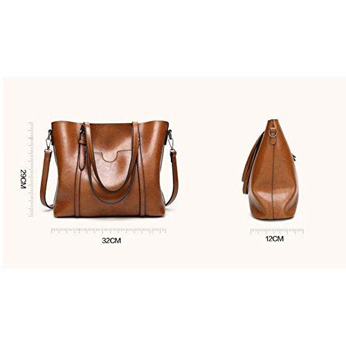 Red Bag 32 black Bag Brown Work A Renhong Ladies Pu To Messenger 29cm Leather 12 Shoulder Green Vintage I0w6zf