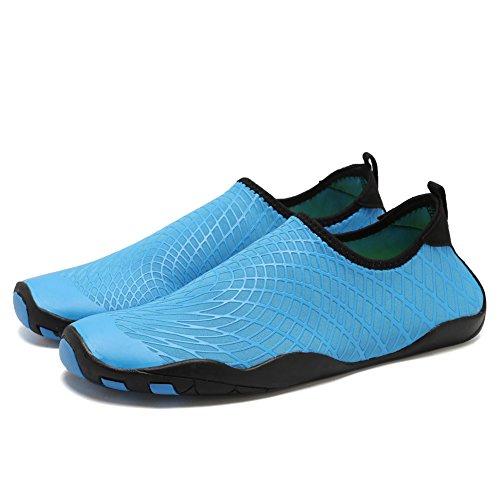 CIOR Männer Frauen Kinder Barfuß Quick-Dry Wasser Sport Aqua Schuhe mit 14 Drainage Löcher für Schwimmen, Wandern, Yoga, See, Strand, Garten, Park, Fahren, Bootfahren L.blau