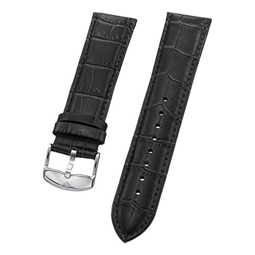 Stuhrling Original Mens Black Leather watch Strap 22mm with steel buckle st.133.33152