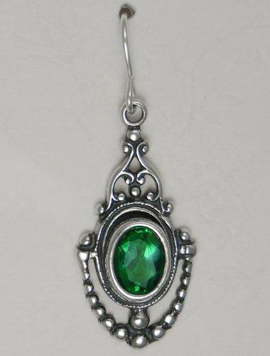 A Beautiful Faceted Gemstone in a Victorian Setting Featuring Emerald Green Quartz, Made in America