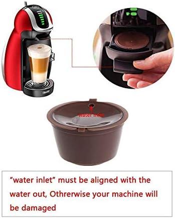 4 in 1 Reusable Coffee Filter Capsule Cup with Spoon and Brush Set for Nescafe Dolce Gusto Mini Me Piccolo Genio Esperta Circolo