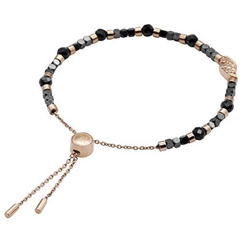 True N' Raven Bead Bracelet Rose Gold Wing Spinel Bead Pull-Chain Bracelet