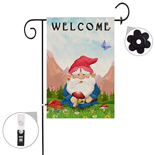Hexagram Gnomes Garden Flag Burlap Double Sided Decorative Welcome Spring Yard Flag Prime