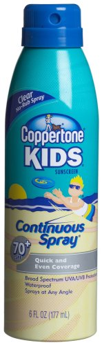 Coppertone Kids Sunscreen Lotion, SPF 70+ Continuous Clear Spray, 6-Ounce Bottles (Pack of 3) by Coppertone