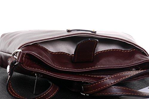 sac triple petite réglable sacs Mi en Marron sangle main sangle à ou compartiment Sacchi italienne de à corps frontale main souple transversale Primo cuir fait bandoulière OP18q
