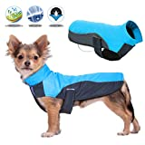 BESAZW Dog Jacket Warm Windproof Waterproof Reversible Dog Coat for Cold Weather Dog Jacket for Small Medium Large Dogs,Blue M For Sale
