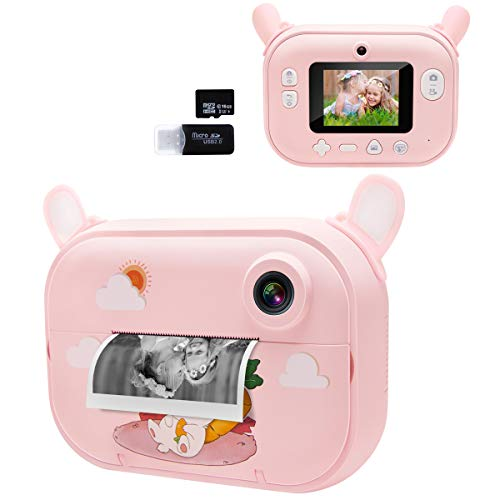 Instant Camera for Kids, Girls Print Photo Selfie Video Digital Camera with Paper Film, 3-12 Years Old Children Mini Learning Toy Camera Gifts for Birthday Holiday Travel (Pink)