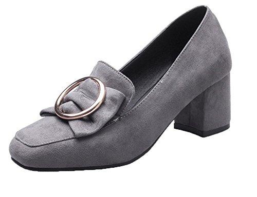 VogueZone009 Damen Gerafft Mittler Absatz Quadratisch Zehe Ziehen auf Pumps Schuhe Grau