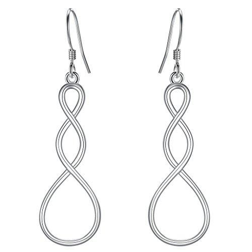 EleQueen 925 Sterling Silver Lucky Infinity Symbol Twist Figure 8 Filigree Bridal Hook Drop Earrings by EleQueen