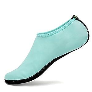 CIOR 3rd Upgraded Version Durable Sole Barefoot Water Skin Shoes Aqua Socks For Beach Pool Sand Swim Surf Yoga Water Aerobics,shs03,Aqua,M