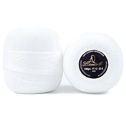 Pack of 10 Limol 100 Grs 100% Mercerized Crochet Cotton Balls (White, 12) by Limol
