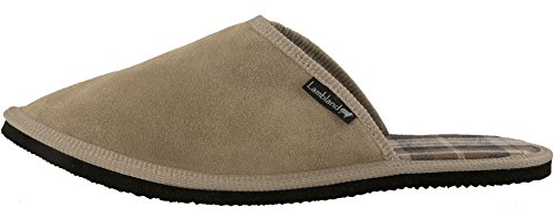 Lambland Mens British Made Genuine Sheepskin Suede Lambswool and Cotton Lined Mules Beige 8wzy14XWy