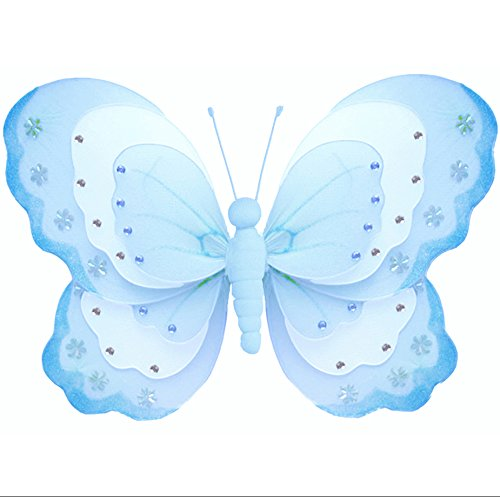 Hanging Butterfly Medium 10 Blue White Triple Layered Nylon Mesh Butterflies Decorations Decorate Baby Nursery Bedroom Girls Room Ceiling Wall Decor Wedding Birthday Party Baby Shower Bathroom Kid