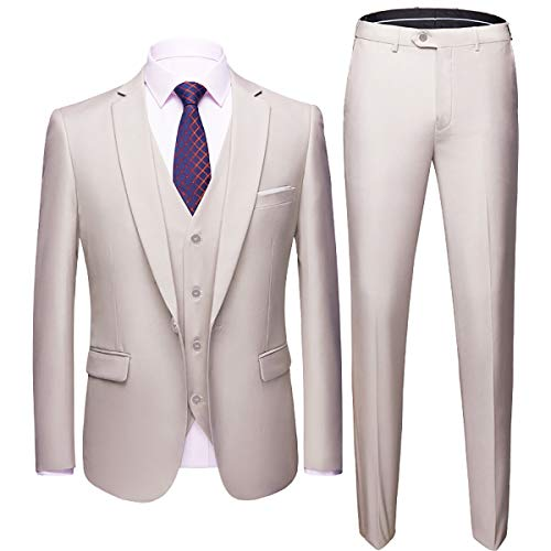 Men's Slim Fit 3 Piece Suit One Button Blazer Tux Vest & - Men Suits Set