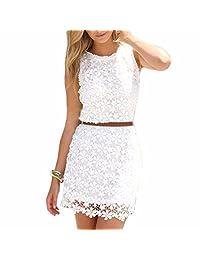 White Sleeveless Crochet Lace Floral Women Sundress Girls Slim Pencil Dress Robe