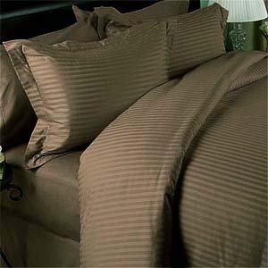(Luxury Stripes Taupe 300 Thread Count Full/Queen Size Duvet Cover Set 100 % Cotton with matching pillow shams 300TC)