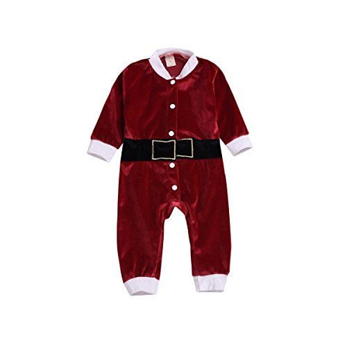 XiaoReddou Fleece Baby Santa Romper Costume One-Pieces Outfits (Red, 18-24 Months) ()