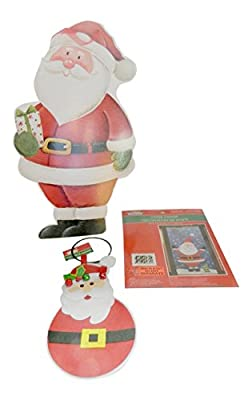 "3 Pc Santa Decorating Bundle Includes: 17"" Santa Sign, 10"" Santa Door Bells, Santa Door Cover 30"" X 60"""