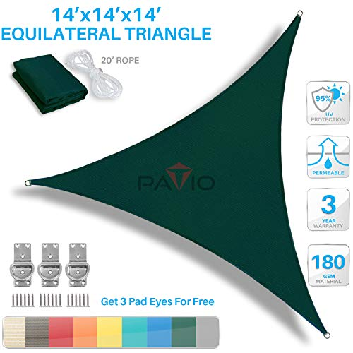 PATIO Paradise 14 x 14 x 14 Green Sun Shade Sail Equilateral Triangle Canopy, 180 GSM Permeable Canopy Pergolas Top Cover, Permeable UV Block Fabric Durable Outdoor, Customized Available