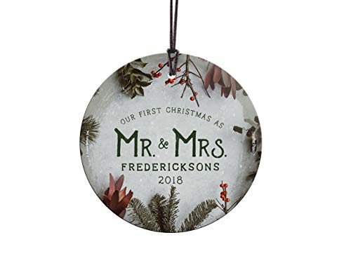 Personalized Suncatcher - Trend Setters First Christmas Married Ornament – Mr and Mrs Cranberries and Evergreen Personalized – Suncatcher Hanging Glass Collectible