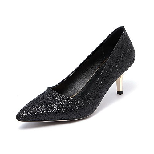 VogueZone009 Women's Pull-on Pointed Closed Toe Kitten-Heels Sequins Solid Pumps-Shoes Black HViud