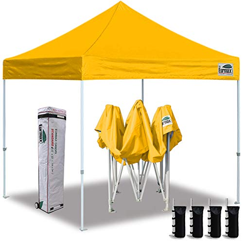 Eurmax 10'x10' Ez Pop Up Canopy Tent Commercial Instant Canopies with Heavy Duty Roller Bag,Bonus 4 Sand Weights Bags(Gold) (Gold Canopy Tent)