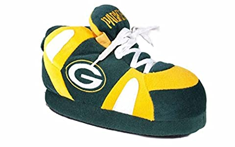 GRB01-2 - Green Bay Packers - Medium - Happy Feet & Comfy Feet NFL Slippers - Green Bay Packers House