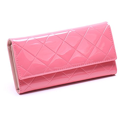 JD Million shop 2017 New Arrival Women Wallets Plaid Patent Leather Purse Women Clutch Bag Long Ladies Zipper Money Bag