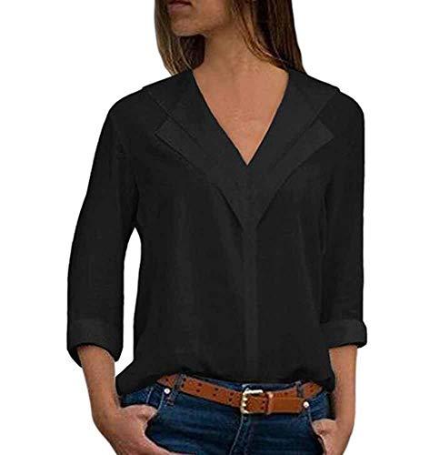 col Shirt de Soie Unie Noir lgant v en Tops Longues Manches pour Couleur en Femmes Blouses Mousseline wvqtgv