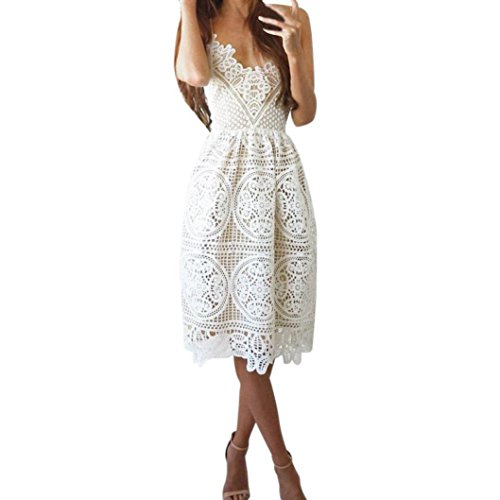(Elogoog Lace Dress, Women's Sleeveless Spaghetti Strap V Neck Party Evening Backless Lace Gown Cocktail Dress (White, L))