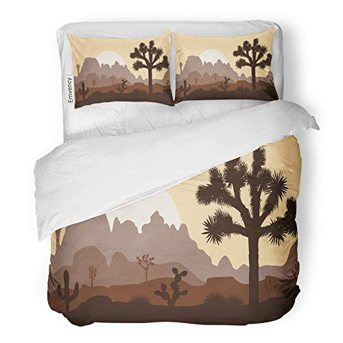 Emvency Decor Duvet Cover Set Twin Size Brown Branch Morning Landscape with Joshua Tree and Mountains Over Sunset Yucca 3 Piece Brushed Microfiber Fabric Print Bedding Set Cover -