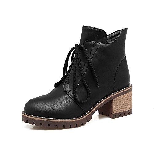 Bandage AdeeSu Womens nbsp; SXC02533 Heels Black Urethane nbsp;Lining Square Boots Velvet Ufgq7Ow