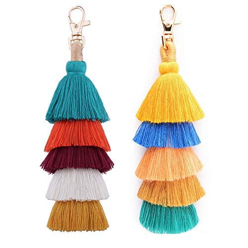 Tassel Pom Pom Key Chain Colorful Boho Charm Key Ring, Fashion Accessories for Women (R1-2pcs)