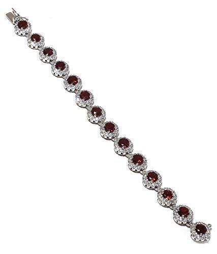 Be You plaqué attractif rouge grenat véritable pierres précieuses rhodium bracelet en argent sterling pour les femmes