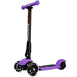 ALLEK Scooter, 3 Wheel Kick Scooter for Kids Boys Girls Adjustable Height PU Flashing Wheels Best Gifts for Children from 3 to 17 Year-Old (Purple)
