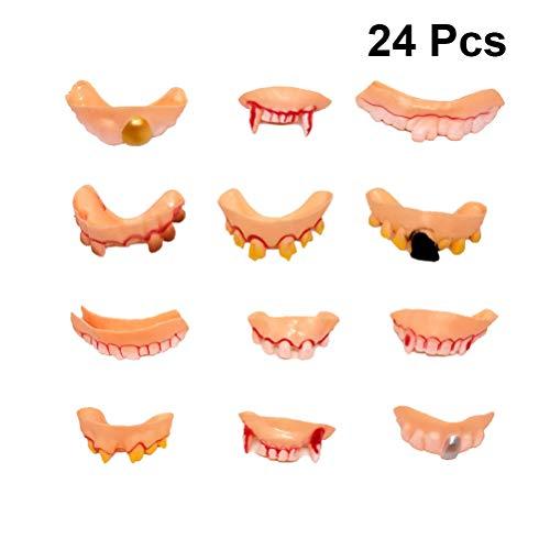 PRETYZOOM 24pcs Different Style Fake Teeth Toy Funny Fake False Teeth Vampire Denture Teeth Halloween Decoration Props Costume (Random Style) -