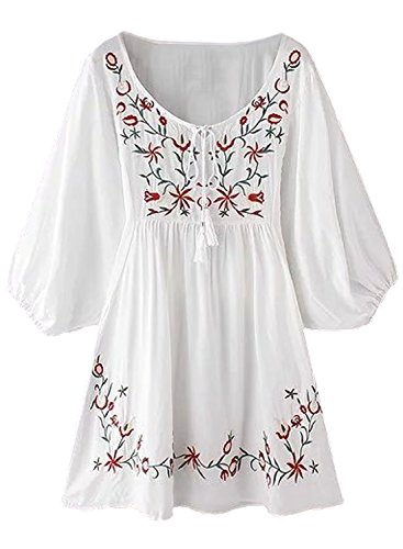 Futurino Women's Bohemian Embroidery Floral White Tassel Accents Shift Mini Dress,White,Large