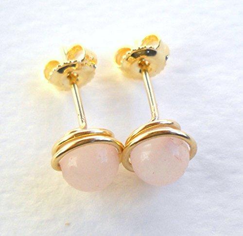 (14K Gold Filled Rose Quartz Stud Earrings)