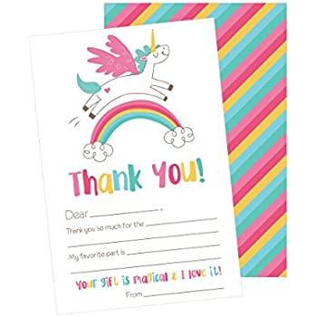 AmazonCom   Unicorn Kids Thank You Cards Fill In Thank You