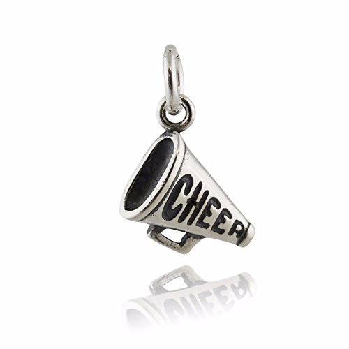 Megaphone Charm - 925 Sterling Silver Cheerleading Sports Small - Jewelry Accessories Key Chain Bracelets Crafting Bracelet Necklace Pendants