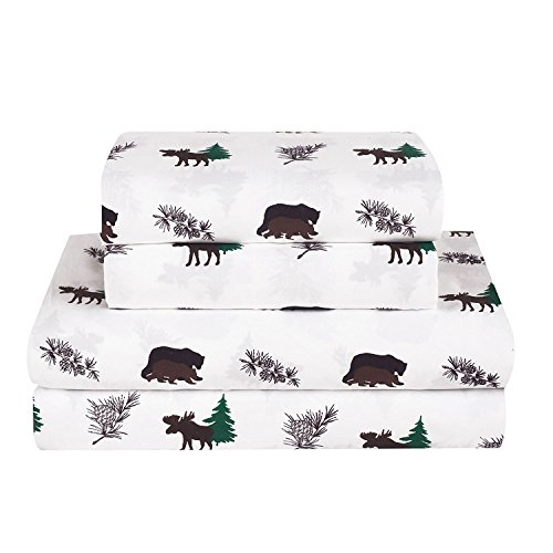 Rustic Bear Moose Queen Size 4 Piece Bed Sheet Set Microfiber Cabin Hunting Lodge