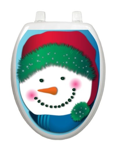 Snowman in Stocking Cap Toilet Tattoo TT-X604-O Elongated Winter Holiday