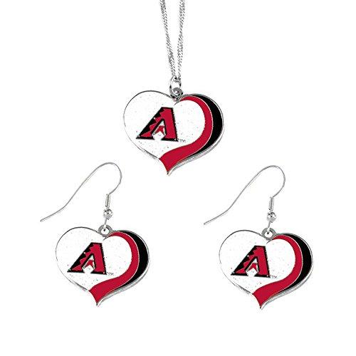 (aminco Arizona Diamondbacks MLB Sports Team Logo Charm Gift Glitter Heart Necklace and Earring)