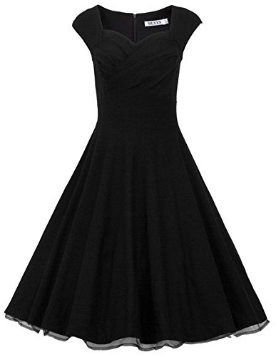 MUXXN Womens 1950s Retro Vintage Cap Sleeve Party Swing Dress