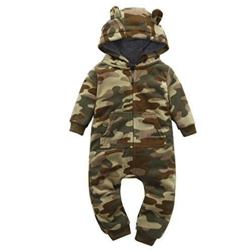G-real Thick Hooded Romper, Newborn Baby Boys Girls Thicker Print Hooded Romper Jumpsuit Toddler Kids Fleece Sleeper Bodysuit Clothes for 6-24M (Camouflage, ()