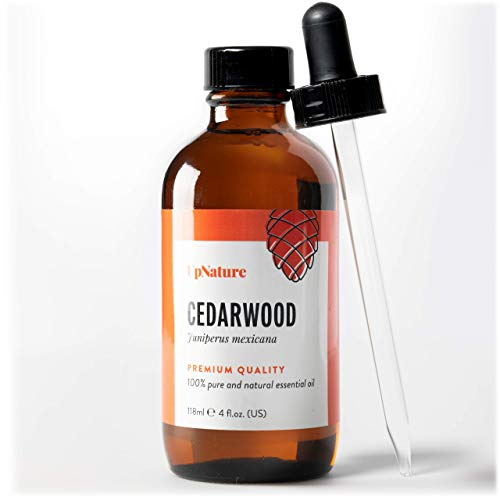 Cedarwood Essential Oil 4 OZ - For Hair Growth, Healthy Skin, Closets, Insects and Relaxing Sleep - 100% Pure & Natural Cedar Wood, Undiluted & Unfiltered, Premium Quality With Glass Dropper (Essential Cedar)