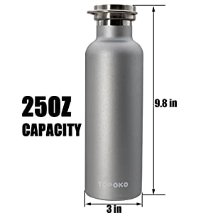 25 OZ Stainless Steel Vacuum Water Bottle Double Wall Insulated Thermos Leak Proof BPA free, Wide Mouth With Metal Lid-Grey