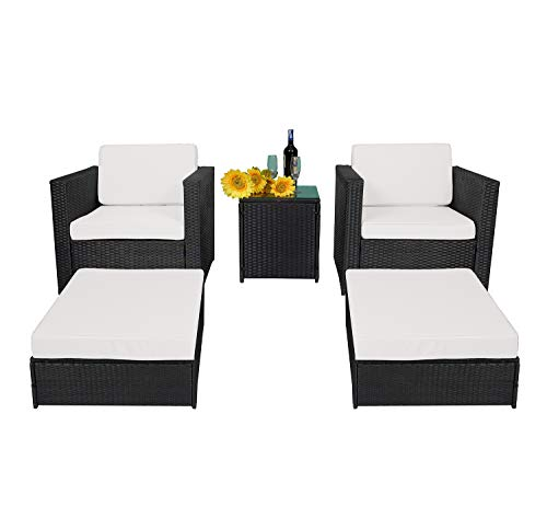 MCombo 5PC Outdoor Rattan Wicker Sofa Couch Patio Furniture Chair Garden Sectional Set with Waterproof Cushion Steel Frame (Armrest+Ottoman+Table) 6089